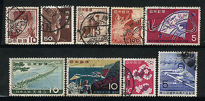 1952/1961 Japan Set Of 9 Used Stamps
