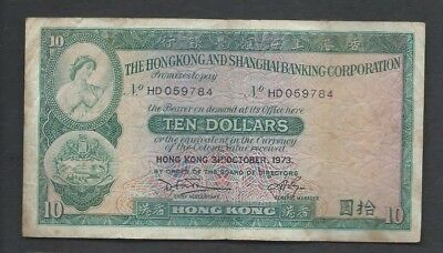 Hong kong 1973 10 Dollars P 182g Circulated
