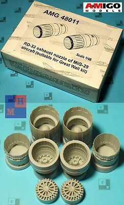 "1/48 Mikoyan MiG-29 nozzles resin set, by ""Amigo Models"" AMG48011, for ""GWH"" kit"