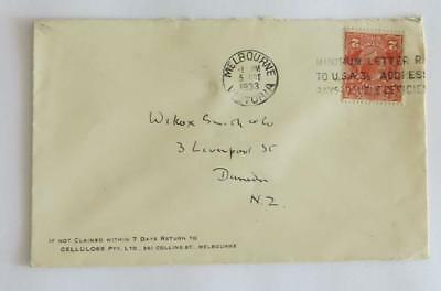 Australia 1933 KGV 2d  on envelope to New Zealand with Centenary label on back