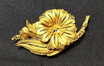 Solid Gold 23k Antique Broach