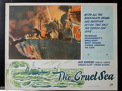 CRUEL SEA English Lobby card No.2 Jack Hawkins War classic Virginia McKenna
