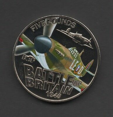 2010 Bailiwick of Guernsey BATTLE OF BRITAIN £5 COIN HAWKER HURRICANE