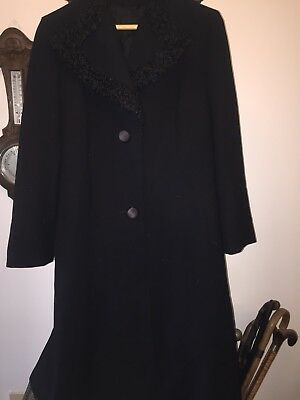 Vintage Pure Wool Black Coat With Astrakhan Collar