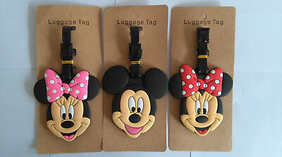 Childrens Mickey Mouse Minnie Mouse PVC Luggage Labels Tags Travel Baggage Tags