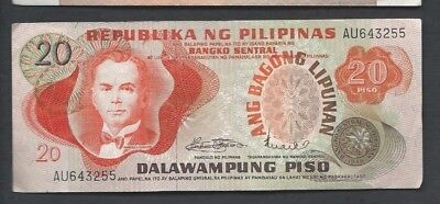 Philippines 1970 20 Piso P 155 Circulated