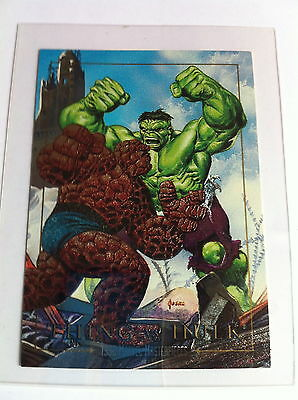 1992 Marvel Masterpieces Etched Foil Thing VS Hulk 1D MINT