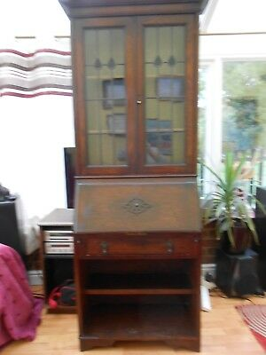 1930's Antique Writing Bureau/Display Case Glass fronted