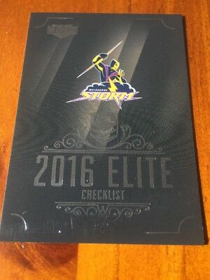 Melbourne Storm Checklist Logo 2016 NRL Elite Traders Rugby League Card