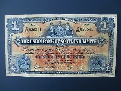 Early Year 1940 Union Bank Of Scotland £1 Banknote Crisp Vf