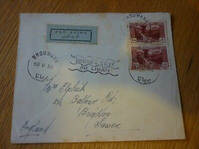 1938 Lebanon stamp cover  Brouman and Beyrouth cancellations