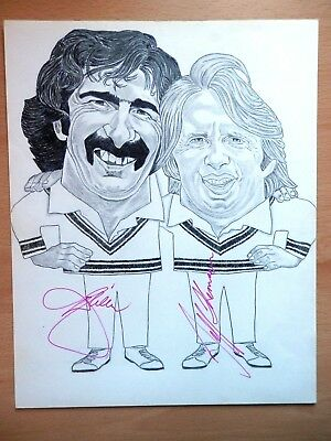 Dennis Lillee & Jeff Thomson - Cricketers - ORIGINAL Pencil Caricature - Signed