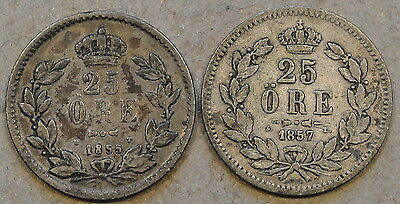 Sweden 1855+57 25 Ore Lower Grades as Pictured