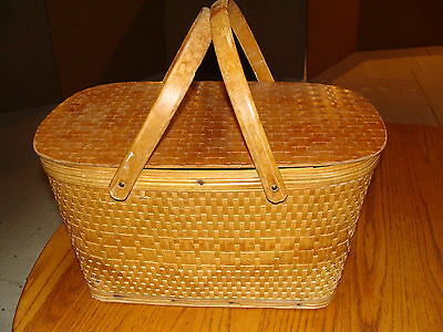 Vintage Weaved Picnic Basket