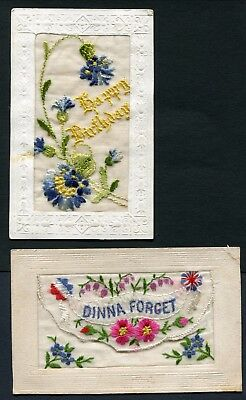 C1916-20 Two Ww1 Embroidered Silk Postcards
