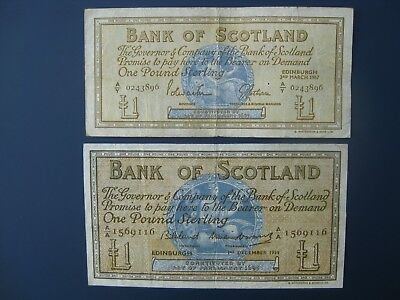 2No. SIZE TYPES 1959/67 BANK OF SCOTLAND £1 BANKNOTES CRISP GF