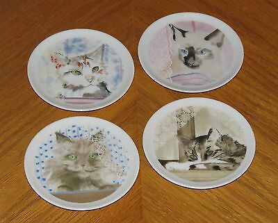 Minou-ettes C. Pradalie Mini Plate Set - Window Cats - vtg 1985 Collection Coeur