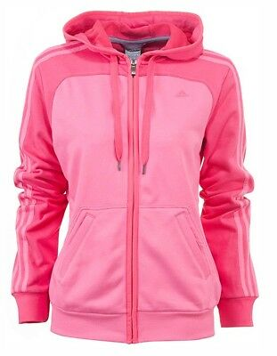 Ladies Women's New Adidas Zip Hoody Hooded Sweater Hoodie Jumper Pullover - Pink