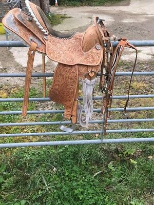 "15"" Brown Western Saddle With Bridle And Breastplate Tan"