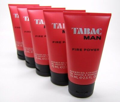 Tabac Man Fire Power Shower Gel & Shampoo 375 ml in 5 Tuben a 75 ml