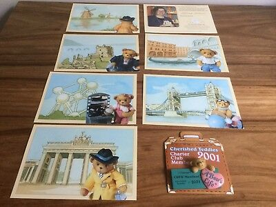 Rare Cherished Teddies Postcards and Charter Member 2001 Brooch