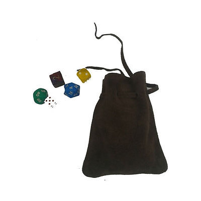 LARP Brown Leather Draw String Money/Dice Pouch/Bag,Cosplay,Reenactment,Medieval
