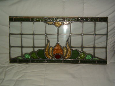 GENUINE 1900s LEADED STAINED GLASS WINDOW ART NOUVEAU
