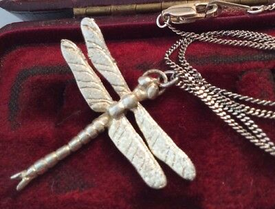Vintage Jewellery Sterling Silver DragonFly Mayfly Pendant Necklace