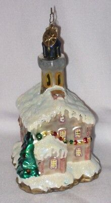 Glass Snow Covered House Ornament by Christopher Radko - Pre-Owned