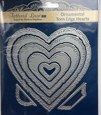 Lightly Used Tattered Lace Ornamental Torn Edge Hearts Die Set