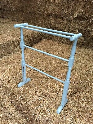 Vintage Blue Wooden Towel Rail Stand Guest Bath Bed Room Drying