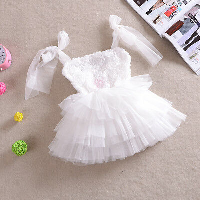Baby Girl 3D Rose Vintage Dress for Wedding Party Birthday Christmas Gift 1-5yrs