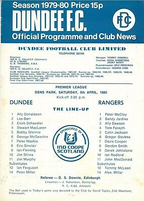 Dundee FC v Rangers 5/4/1980 match programme Scottish League