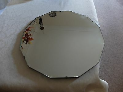 """VINTAGE Bevelled Edge Frameless ROUND Wall MIRROR 12-Sided 1930s 40s Small 18"""""""