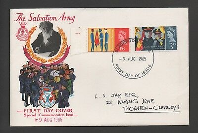 Gb Fdc 9 Aug 1965 Salvation Army Centenary *blackpool, Lancs Handstamped*