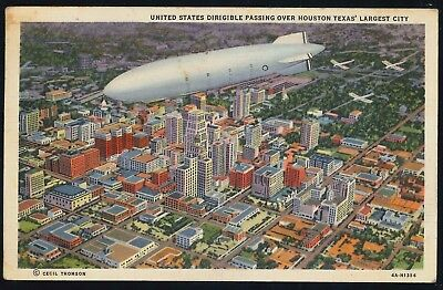 """USA 1944 """"Dirigible Airship Passing over Houston Texas"""" old used Postcard"""