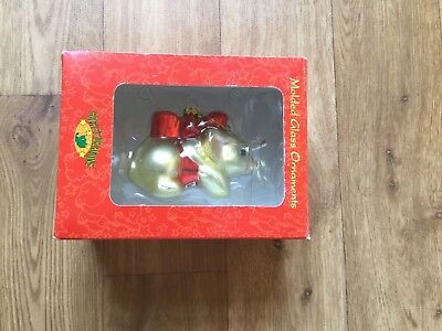 Pocket dragon in ribbon blown glass Christmas tree decoration by Flambro boxed