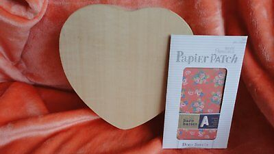 Wooden Heart Box, Unfinished and Docrafts Deco Sheets