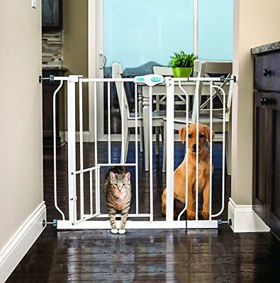 OpenBox Carlson Extra Wide Walk Through Gate with Pet Door, 29 to 44-Inch