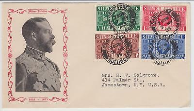 GB 1935 Silver Jubilee RARE illustration FDC to USA Cat £400+