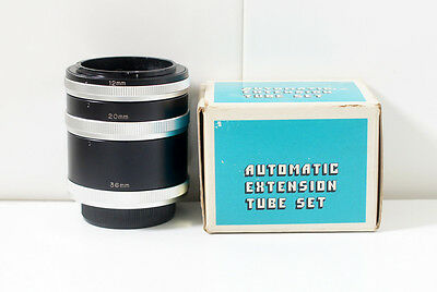 [GOOD] Automatic Extension Tube Set 12/20/36 (Canon FD mount)