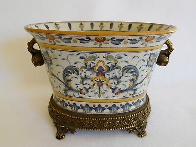Elegant vintage Chinese jardiniere planter with bronze handles, base. Perfect!