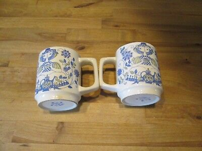 Pair of Lotte Turi-design Blue Coffee Cups - stacking made in Norway