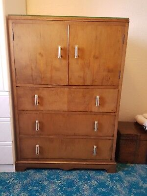 Vintage  Victorian or early 20C  Chest of 4 Drawers + Cupboard Tall Boy