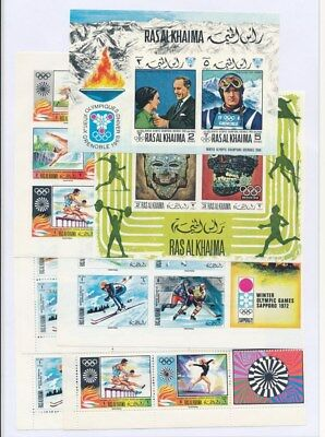 [F94010] Ras Al Khaima Olympics 7 good imperforated sets Very Fine MNH stamps