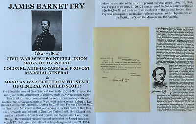 Mexican/civil War West Point Full Union Brigadier General Order Document Signed!