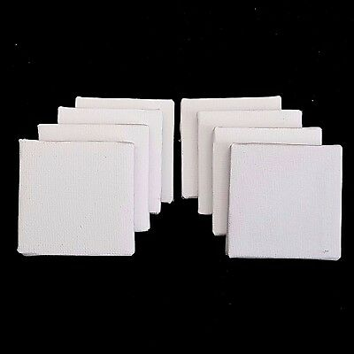 8 x Mini Artist Stretched Canvas 7cm Square Small Art Board Acrylic Oil Paint
