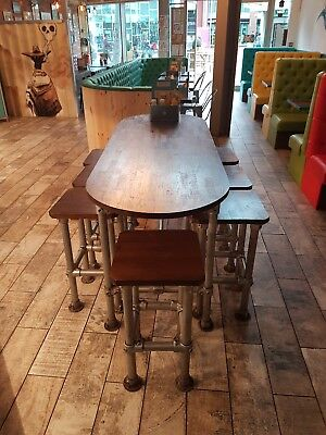 Industrial Style Bespoke Made Table And Chairs Set Unique Opportunity No Reserve