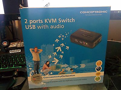 Conceptronic 2 ports KVM Switch USB with audio