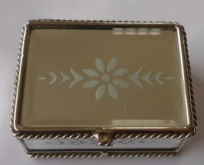 Vintage  Bevelled GLASS  Trinket  Mirrored Box Casket  Silver metal